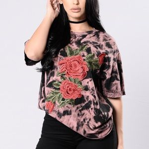 Black  Acid Wash Tee w Embroidered Rose Patch